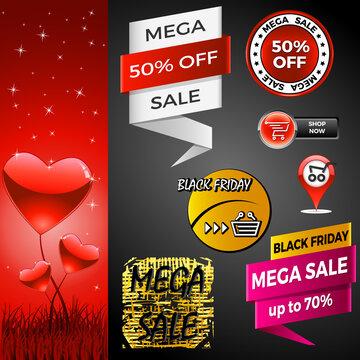 Werbebanner - Schlussverkauf, Sale, Valentinstag, Black Friday, Warenkorb