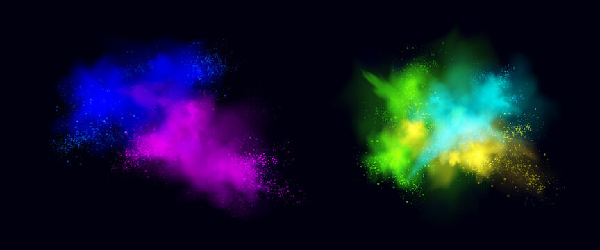 Color powder explosions isolated on black background. Splash and spray of paint dust with particles. Vector realistic set of burst effect of colorful powder clouds