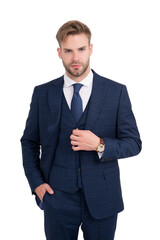 Business person wear three-piece suit in formal style isolated on white, employee