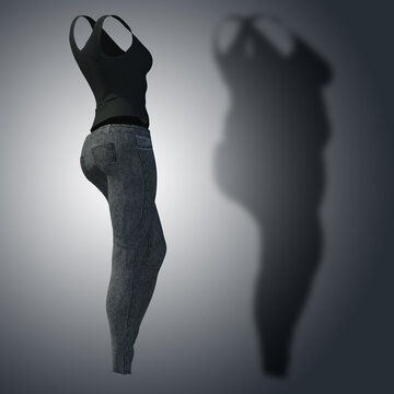 Conceptual fat overweight obese shadow female jeans undershirt vs slim fit healthy body after weight loss or diet thin young woman on gray. Fitness, nutrition or obesity health shape 3D illustration