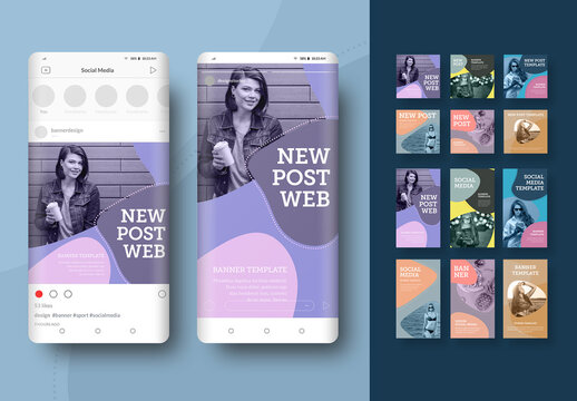 12 Social Media Banners with Curved Shapes