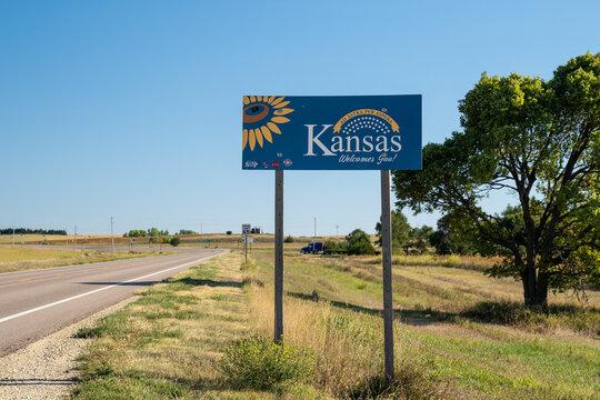 Woodruff, Kansas - September 13, 2020: Welcome to Kansas sign, taken from the Kansas state and Nebraska border