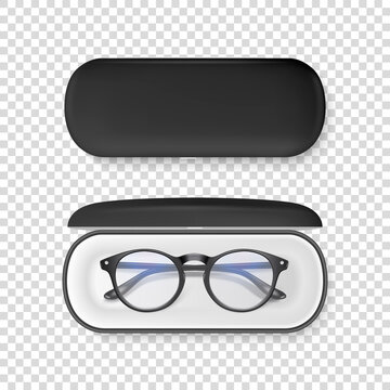 Vector 3d Realistic Plastic Round Black Rimmed Eye Glasses in Black Case Box Closeup Isolated on ransparent Background. Women, Men, Unisex Accessory. Optics, Health Concept. Design Template for Mockup