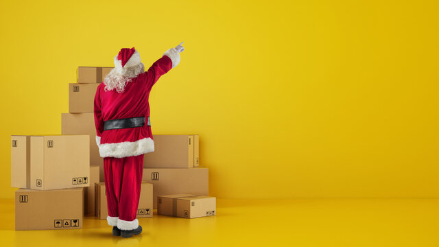 Santa Claus in front of cardboard boxes that indicates something in the wall