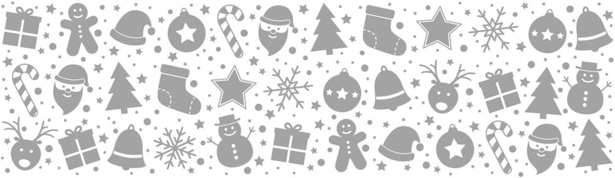Christmas header with Xmas decorations. Panoramic header. Vector