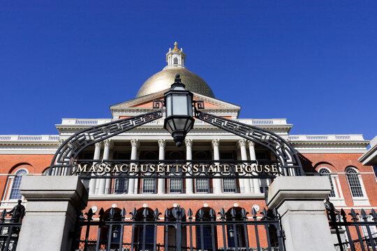 Boston, Massachusetts USA  The Massachusetts state house on Beacon Hill.