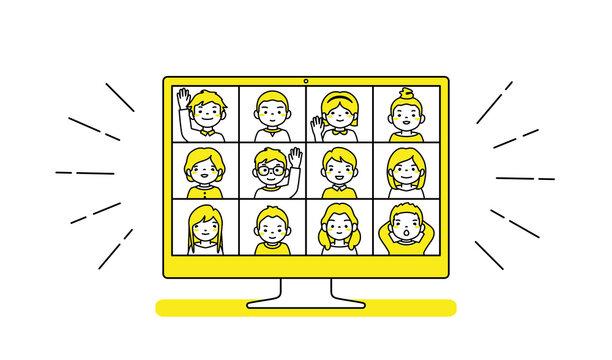 Online lesson. Coronavirus quarantine distance education concept. Stay at home vector illustration.