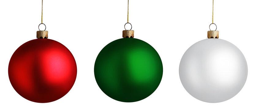 Set of bright Christmas balls on white background. Banner design