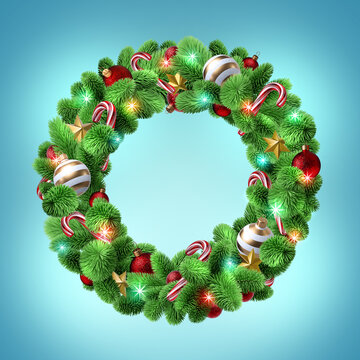 3d render, Christmas round spruce wreath decorated with festive ornaments: lights, red glass balls, golden stars, candy canes. Holiday clip art isolated on blue background. Greeting card template