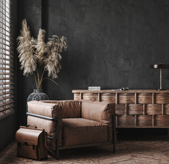 Modern industrial interior with leather furniture, luxury office, 3d render