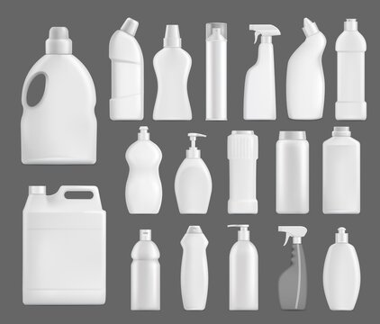 Household chemicals vector bottles, detergent blank packages mockup. White realistic plastic tubes with handle, pump, sprayer for liquid soap, stain remover, laundry bleach or cleaner isolated 3d set