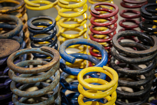 A slightly elevated view of heavy duty used auto coil springs