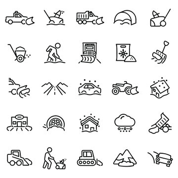 Snow Removal Icons stock illustration. A truck with snowplow, snowblower, salt, snow shovel, person shoveling snow, person pushing snowblower, snowplow, snow storm