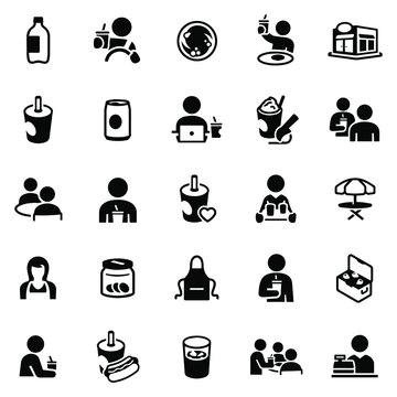 Soft Drink Icons stock illustration.2 liter bottle, soda can, cup of soda, people drinking soda