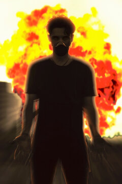 a man in a dark outfit in front of the huge explosion