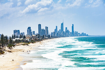 Gold Coast city with Surfer Paradise beach in Australia