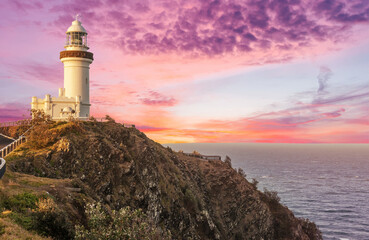 Cape Byron lighthouse in New South Wales in Australia at dramatic sunset