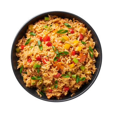 Veg Schezwan Fried Rice in black bowl isolated on white background. Vegetarian Szechuan Rice is indo-chinese cuisine dish with bell peppers, green beans, carrot. Top view