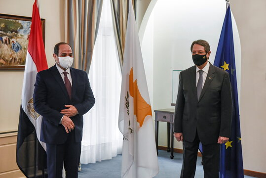 Cypru's President Nicos Anastasiades and Egypt's President Abdel Fattah al-Sisi pose before a trilateral summit between Greece, Cyprus and Egypt, at the Presidential Palace in Nicosia