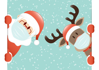 Weihnachtsmann Und Rentier Maske Banner Innen Schnee Türkis