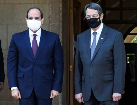 Cyprus' President Nicos Anastasiades and Egypt's President Abdel Fattah al-Sisi are seen before a trilateral summit between Greece, Cyprus and Egypt, at the Presidential Palace in Nicosia
