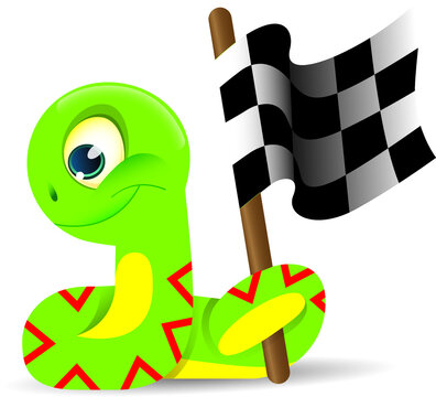 a green snake waving a checkered flag