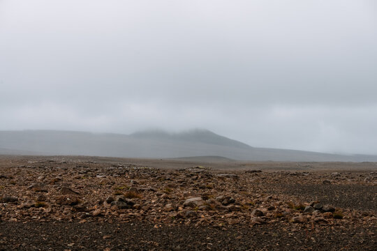lava field desert in iceland on a cloudy day