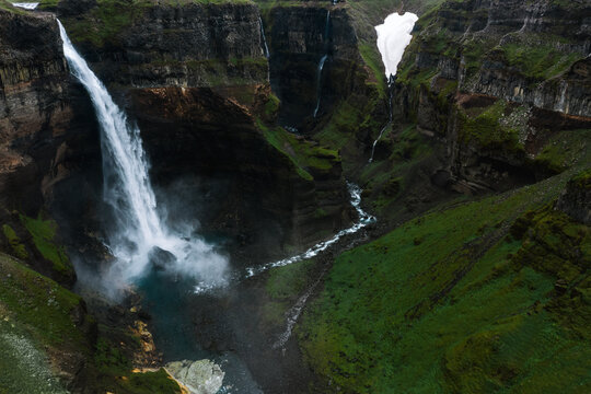 Powerful waterfall Haifoss in Iceland's highlands