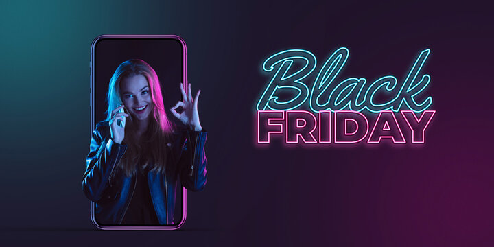 Beautiful woman inviting for shopping right from device screen, black friday, sales concept. Flyer. Cyber monday and online purchases, negative space for ad. Finance and money. Dark neon background.
