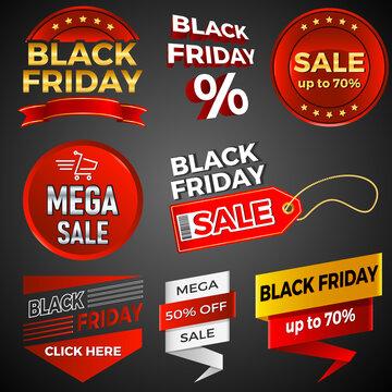 Werbebanner mit black friday und Mega Sale