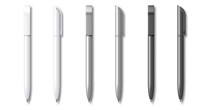 White grey and Black Realistic Set Pen. Vector illustration. Template For Mockup Branding Stationery and Corporate Identity.