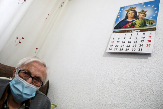 Florentina Martin, a 99 year-old woman who survived coronavirus disease (COVID-19), sits in her home in Pinto