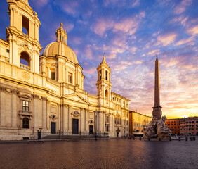 Wall Mural - morning view of Piazza Navona, Rome. Italy