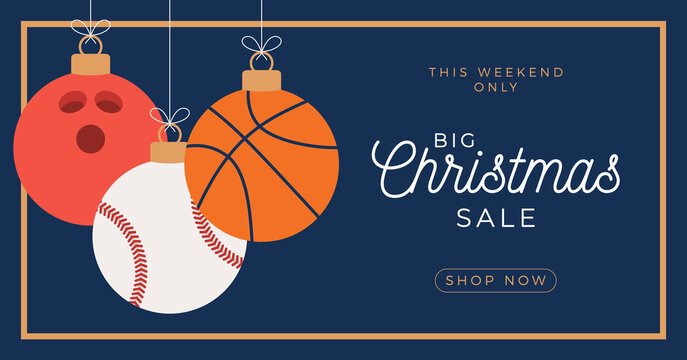 Sport Merry Christmas sale horizontal banner. Christmas card with sport basketbal, bowling and baseball balls hang on a thread on blue background. Flat and cartoon Vector illustration