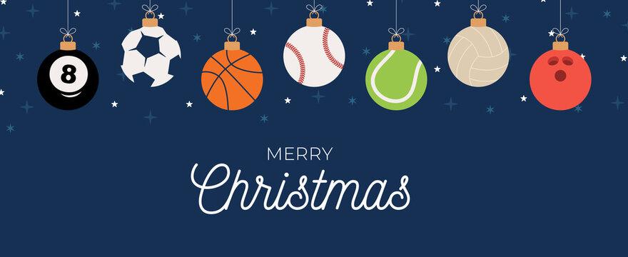 Sport Christmas greeting card. Christmas card with sport baseball, basketball, football, tennis, cricket, soccer, volleyball, bowling, billiard balls hang on a thread. Vector illustration.