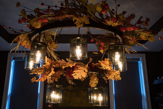 Chandelier with autumn leaves decoration