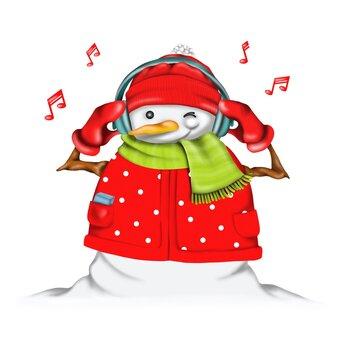 Snowman listening to Christmas music