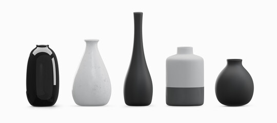 Obraz Various type vases isolated on white background - fototapety do salonu