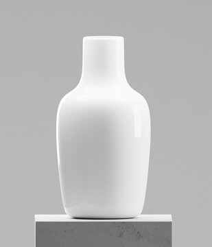 White vase on cement table