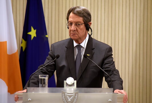 Cypriot President Nicos Anastasiades is seen after a trilateral summit between Greece, Cyprus and Egypt in Nicosia