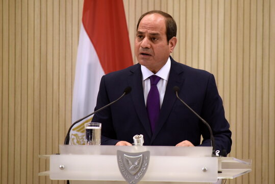 Egyptian President Abdel Fattah al-Sisi speaks after a trilateral summit between Greece, Cyprus and Egypt in Nicosia