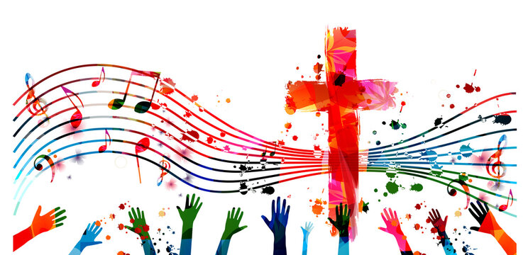 Colorful christian cross with music notes and hands isolated vector illustration. Religion themed background. Design for gospel church music, choir singing, concert, festival, Christianity, prayer