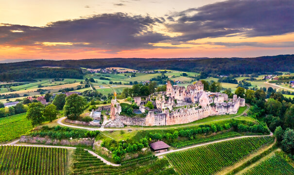 Aerial view of the Hochburg castle in Baden, Germany
