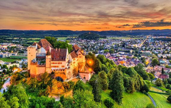 Aerial view of Lenzburg Castle in Aargau, Switzerland