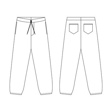 Template sweatpants vector illustration flat design outline  clothing collection