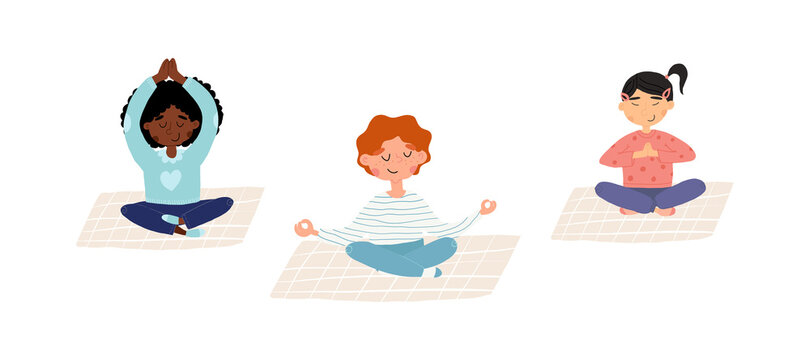 Cute meditating kids set. Boy and girls doing yoga and breathing exercises in various poses on isolated background.