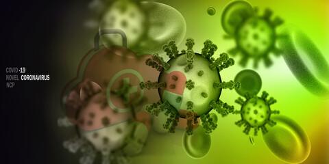 3d render Corona virus microscopic view  Fototapete