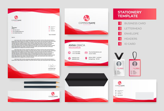 Red wavy Corporate Identity template. Business Stationery Template Design vector