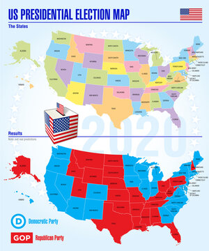 US presidential elections 2020, map of separate US states with the possibility of changing the color of each individual state, vector