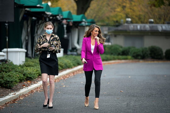White House Director of Strategic Communications Alyssa Farah speaks to reporters following a television interview, outside the White House